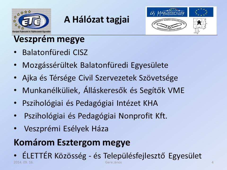 A Hálózat tagjai Veszprém megye Balatonfüredi CISZ Mozgássérültek Balatonfüredi Egyesülete Ajka és Térsége Civil Szervezetek Szövetsége Munkanélküliek, Álláskeresők és Segítők VME Pszihológiai és Pedagógiai Intézet KHA Pszihológiai és Pedagógiai Nonprofit Kft.
