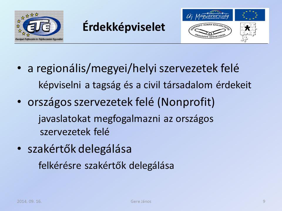 Érdekképviselet a regionális/megyei/helyi szervezetek felé képviselni a tagság és a civil társadalom érdekeit országos szervezetek felé (Nonprofit) javaslatokat megfogalmazni az országos szervezetek felé szakértők delegálása felkérésre szakértők delegálása Gere János2014.