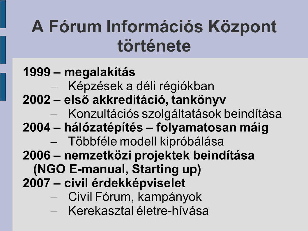 A Fórum Információs Központ története 1999 – megalakítás – Képzések a déli régiókban 2002 – első akkreditáció, tankönyv – Konzultációs szolgáltatások beindítása 2004 – hálózatépítés – folyamatosan máig – Többféle modell kipróbálása 2006 – nemzetközi projektek beindítása (NGO E-manual, Starting up) 2007 – civil érdekképviselet – Civil Fórum, kampányok – Kerekasztal életre-hívása