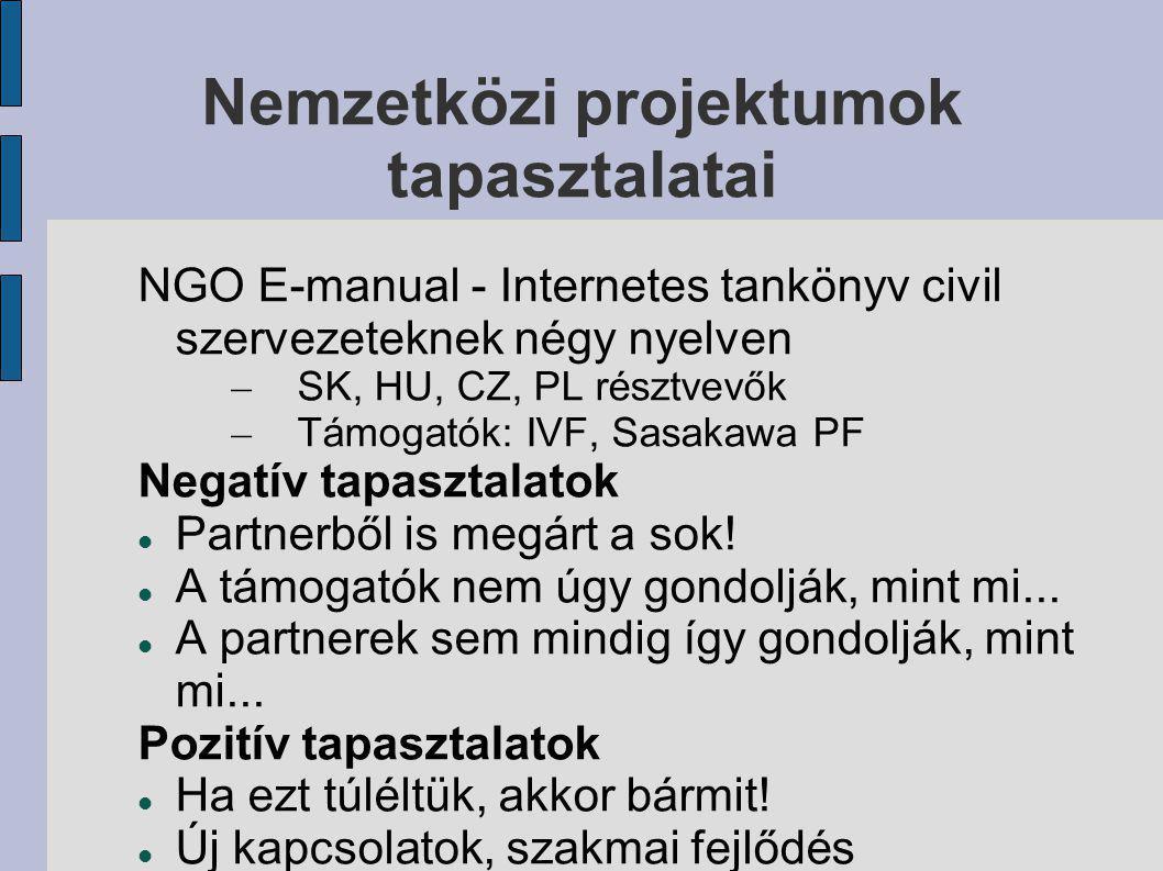 Nemzetközi projektumok tapasztalatai NGO E-manual - Internetes tankönyv civil szervezeteknek négy nyelven – SK, HU, CZ, PL résztvevők – Támogatók: IVF, Sasakawa PF Negatív tapasztalatok Partnerből is megárt a sok.