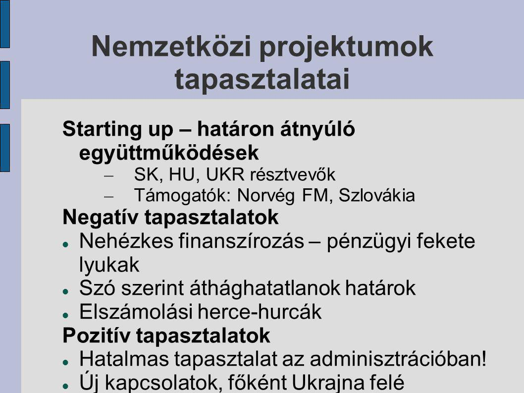 Nemzetközi projektumok tapasztalatai Starting up – határon átnyúló együttműködések – SK, HU, UKR résztvevők – Támogatók: Norvég FM, Szlovákia Negatív tapasztalatok Nehézkes finanszírozás – pénzügyi fekete lyukak Szó szerint áthághatatlanok határok Elszámolási herce-hurcák Pozitív tapasztalatok Hatalmas tapasztalat az adminisztrációban.