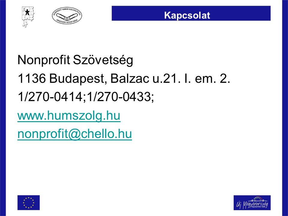Kapcsolat Nonprofit Szövetség 1136 Budapest, Balzac u.21.