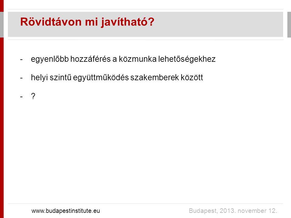 Rövidtávon mi javítható? www.budapestinstitute.eu Budapest, 2013. november 12. -egyenlőbb hozzáférés a közmunka lehetőségekhez -helyi szintű együttműk