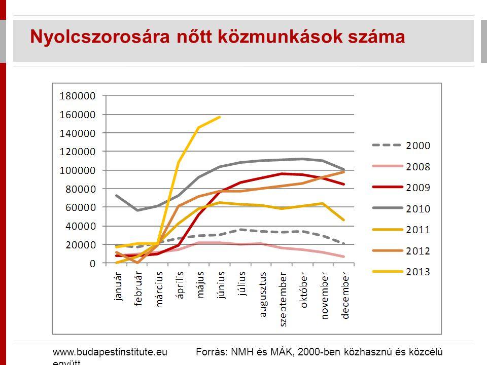 Nyolcszorosára nőtt közmunkások száma www.budapestinstitute.eu Forrás: NMH és MÁK, 2000-ben közhasznú és közcélú együtt