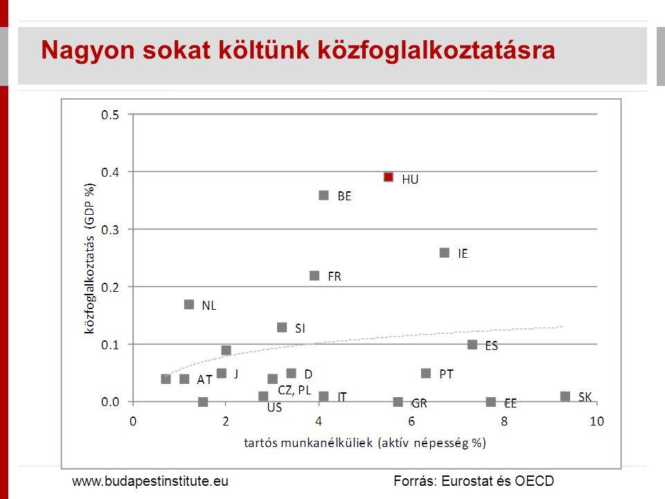 Nagyon sokat költünk közfoglalkoztatásra www.budapestinstitute.eu Forrás: Eurostat és OECD
