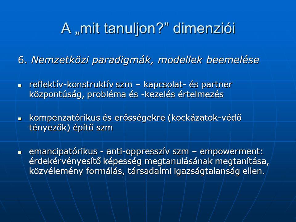 """A """"mit tanuljon?"""" dimenziói 6. Nemzetközi paradigmák, modellek beemelése reflektív-konstruktív szm – kapcsolat- és partner központúság, probléma és -k"""