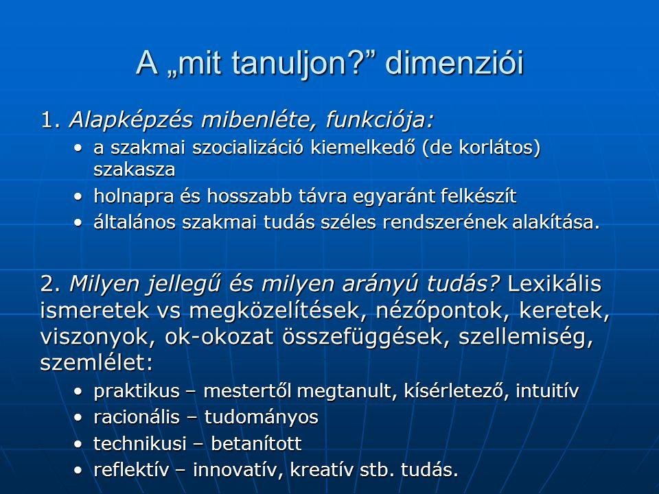 """A """"mit tanuljon?"""" dimenziói 1. Alapképzés mibenléte, funkciója: a szakmai szocializáció kiemelkedő (de korlátos) szakaszaa szakmai szocializáció kieme"""