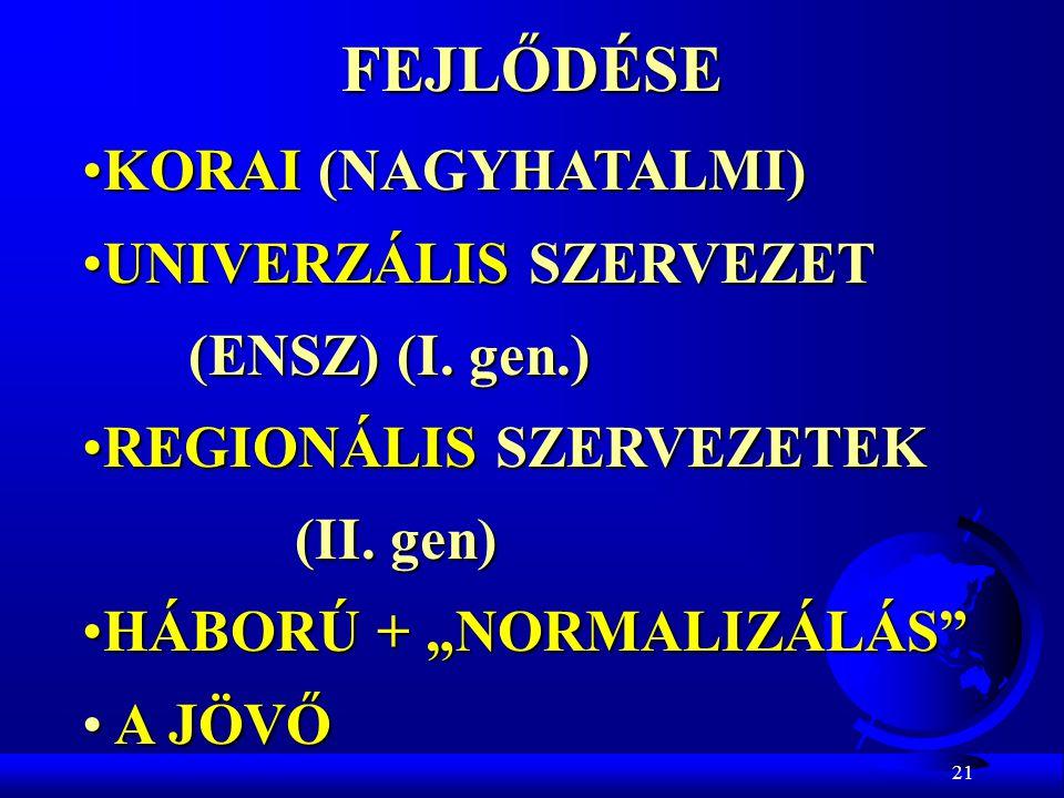 21FEJLŐDÉSE KORAI (NAGYHATALMI)KORAI (NAGYHATALMI) UNIVERZÁLIS SZERVEZETUNIVERZÁLIS SZERVEZET (ENSZ) (I. gen.) REGIONÁLIS SZERVEZETEKREGIONÁLIS SZERVE