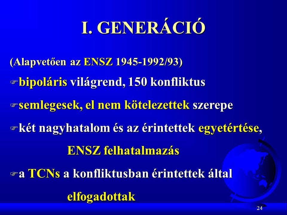 24 I. GENERÁCIÓ (Alapvetően az ENSZ 1945-1992/93) F bipoláris világrend, 150 konfliktus F semlegesek, el nem kötelezettek szerepe F két nagyhatalom és