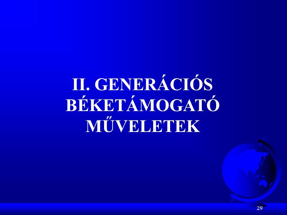 29 II. GENERÁCIÓS BÉKETÁMOGATÓ MŰVELETEK