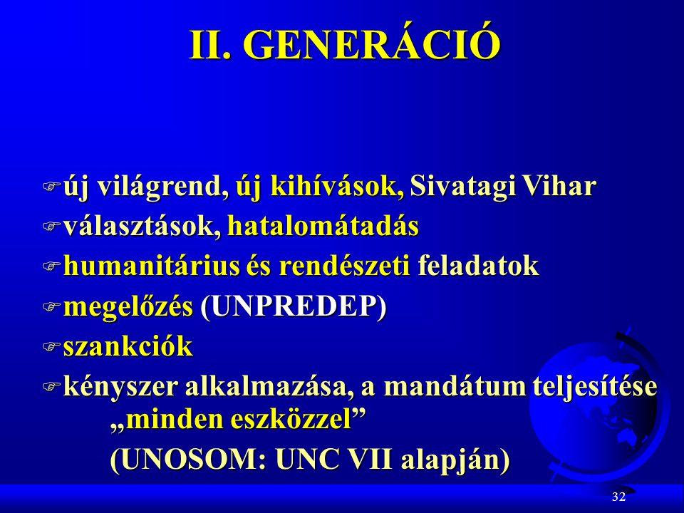 32 II. GENERÁCIÓ F új világrend, új kihívások, Sivatagi Vihar F választások, hatalomátadás F humanitárius és rendészeti feladatok F megelőzés (UNPREDE