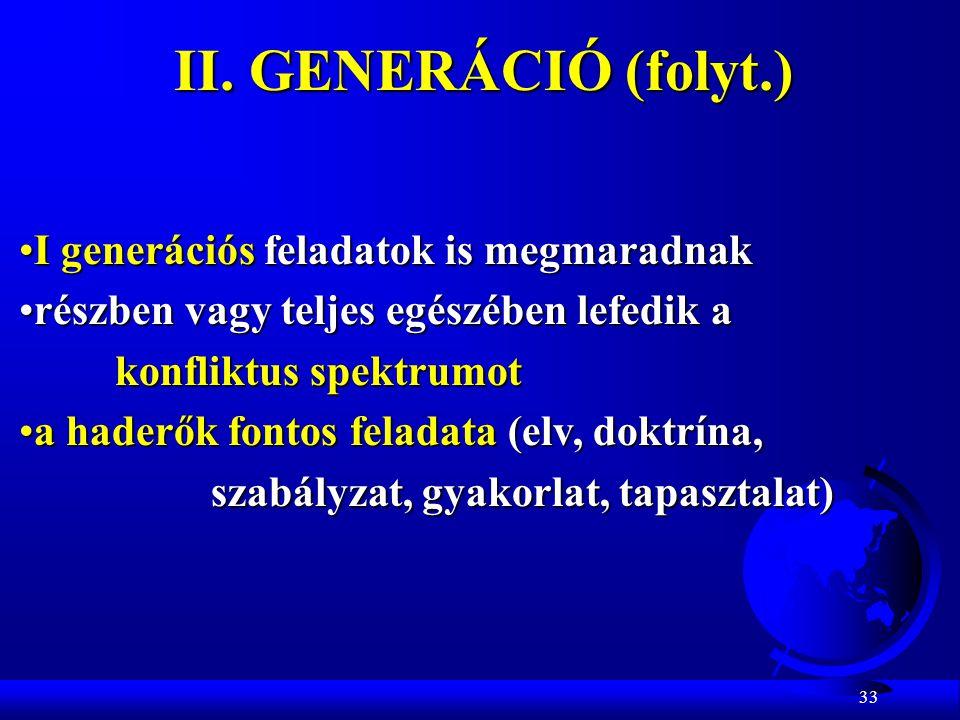 33 II. GENERÁCIÓ (folyt.) I generációs feladatok is megmaradnakI generációs feladatok is megmaradnak részben vagy teljes egészében lefedik arészben va