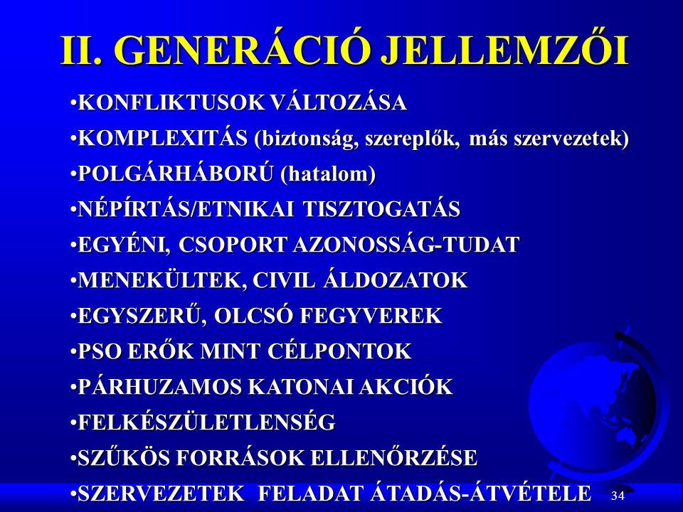 34 II. GENERÁCIÓ JELLEMZŐI KONFLIKTUSOK VÁLTOZÁSAKONFLIKTUSOK VÁLTOZÁSA KOMPLEXITÁS (biztonság, szereplők, más szervezetek)KOMPLEXITÁS (biztonság, sze