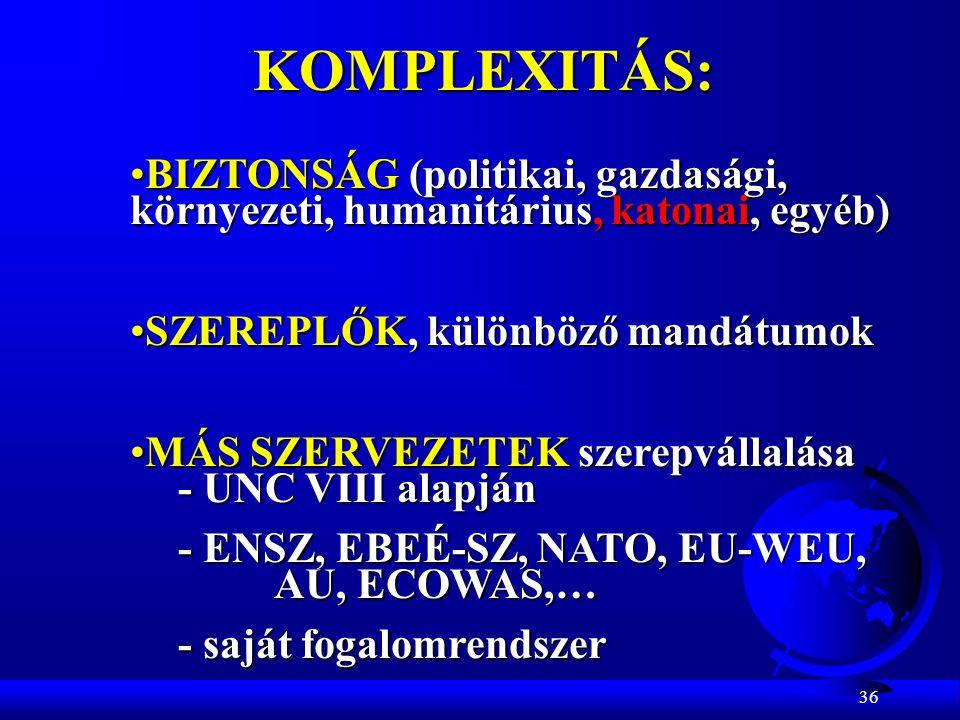 36 KOMPLEXITÁS: BIZTONSÁG (politikai, gazdasági, környezeti, humanitárius, katonai, egyéb)BIZTONSÁG (politikai, gazdasági, környezeti, humanitárius, k