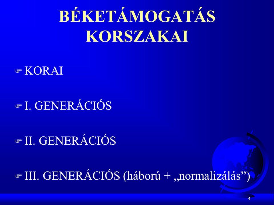 """4 BÉKETÁMOGATÁS KORSZAKAI F KORAI F I. GENERÁCIÓS F II. GENERÁCIÓS F III. GENERÁCIÓS (háború + """"normalizálás"""")"""