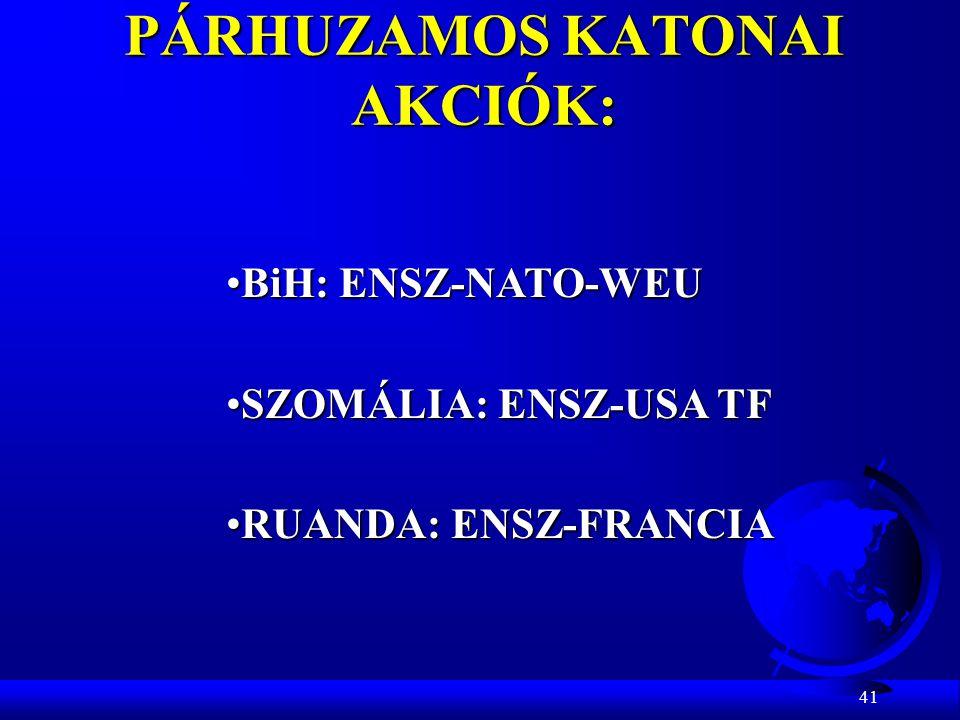 41 PÁRHUZAMOS KATONAI AKCIÓK: BiH: ENSZ-NATO-WEUBiH: ENSZ-NATO-WEU SZOMÁLIA: ENSZ-USA TFSZOMÁLIA: ENSZ-USA TF RUANDA: ENSZ-FRANCIARUANDA: ENSZ-FRANCIA