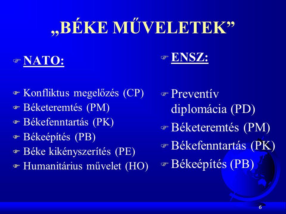 """6 """"BÉKE MŰVELETEK"""" F NATO: F Konfliktus megelőzés (CP) F Béketeremtés (PM) F Békefenntartás (PK) F Békeépítés (PB) F Béke kikényszerítés (PE) F Humani"""