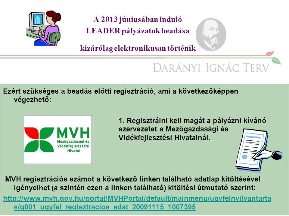 A 2013 júniusában induló LEADER pályázatok beadása kizárólag elektronikusan történik Ezért szükséges a beadás előtti regisztráció, ami a következőképpen végezhető: 1.