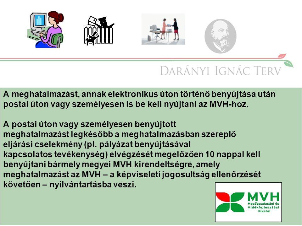 A meghatalmazást, annak elektronikus úton történő benyújtása után postai úton vagy személyesen is be kell nyújtani az MVH-hoz.