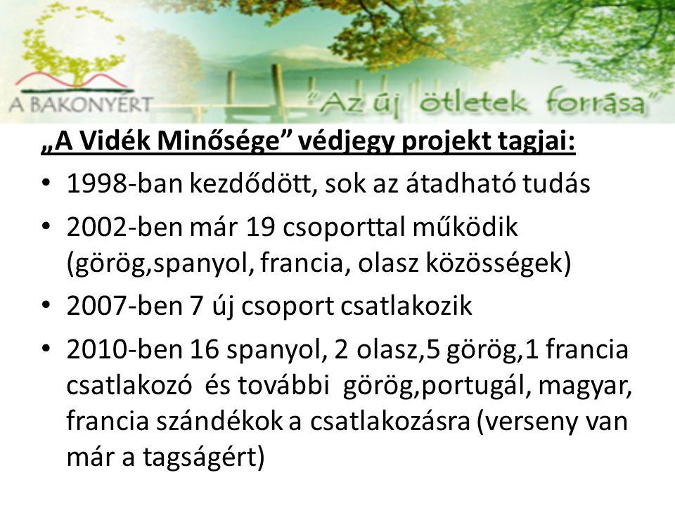 """""""A Vidék Minősége védjegy projekt tagjai: 1998-ban kezdődött, sok az átadható tudás 2002-ben már 19 csoporttal működik (görög,spanyol, francia, olasz közösségek) 2007-ben 7 új csoport csatlakozik 2010-ben 16 spanyol, 2 olasz,5 görög,1 francia csatlakozó és további görög,portugál, magyar, francia szándékok a csatlakozásra (verseny van már a tagságért)"""