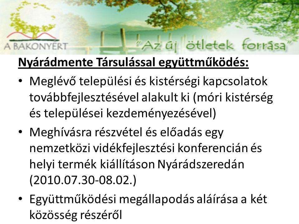 Nyárádmente Társulással együttműködés: Meglévő települési és kistérségi kapcsolatok továbbfejlesztésével alakult ki (móri kistérség és települései kezdeményezésével) Meghívásra részvétel és előadás egy nemzetközi vidékfejlesztési konferencián és helyi termék kiállításon Nyárádszeredán (2010.07.30-08.02.) Együttműködési megállapodás aláírása a két közösség részéről