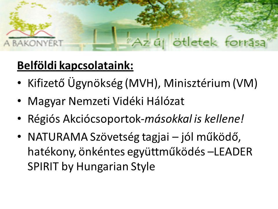 Belföldi kapcsolataink: Kifizető Ügynökség (MVH), Minisztérium (VM) Magyar Nemzeti Vidéki Hálózat Régiós Akciócsoportok-másokkal is kellene.