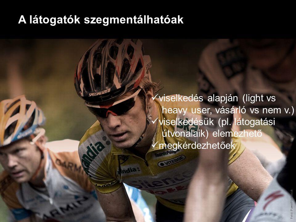 A látogatók szegmentálhatóak Fotó: Paweł Urbaniak viselkedés alapján (light vs heavy user, vásárló vs nem v.) viselkedésük (pl. látogatási útvonalaik)