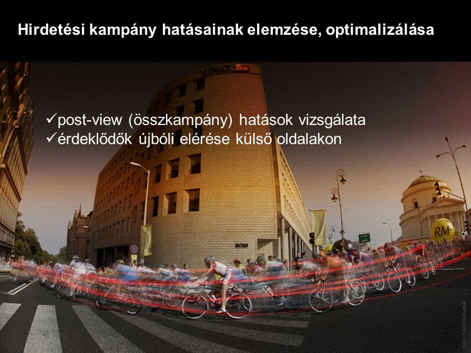 Fotó: Paweł Urbaniak post-view (összkampány) hatások vizsgálata érdeklődők újbóli elérése külső oldalakon Hirdetési kampány hatásainak elemzése, optimalizálása