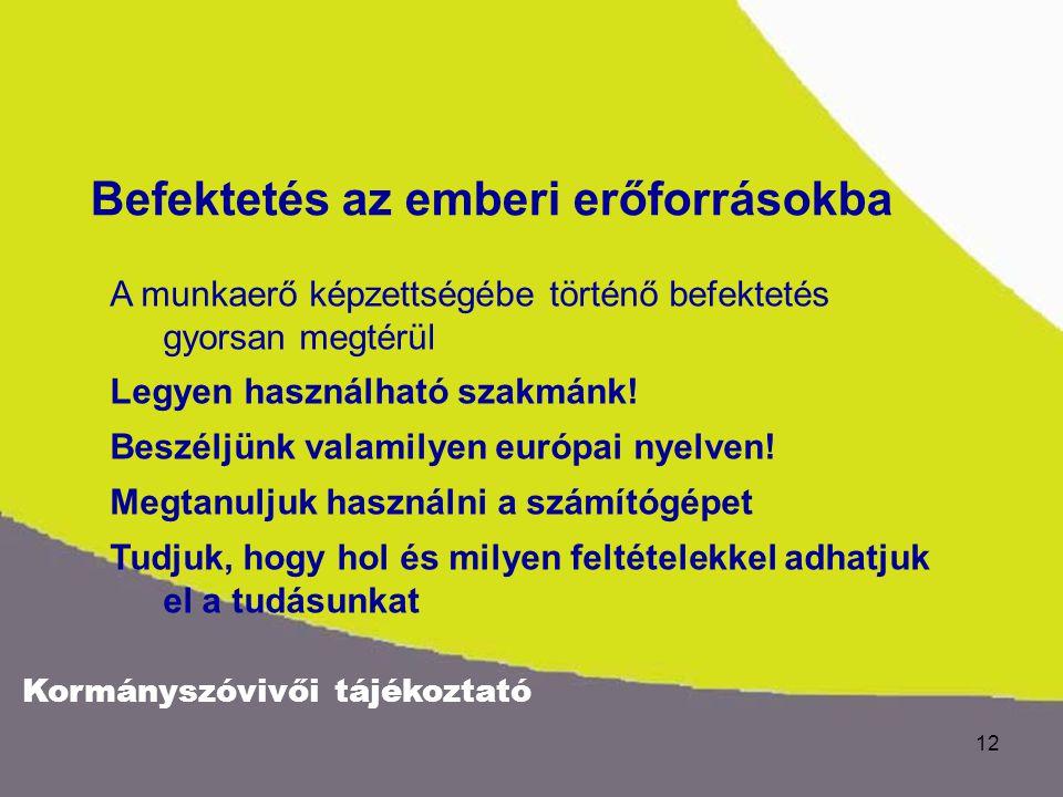 Kormányszóvivői tájékoztató 12 A munkaerő képzettségébe történő befektetés gyorsan megtérül Legyen használható szakmánk! Beszéljünk valamilyen európai