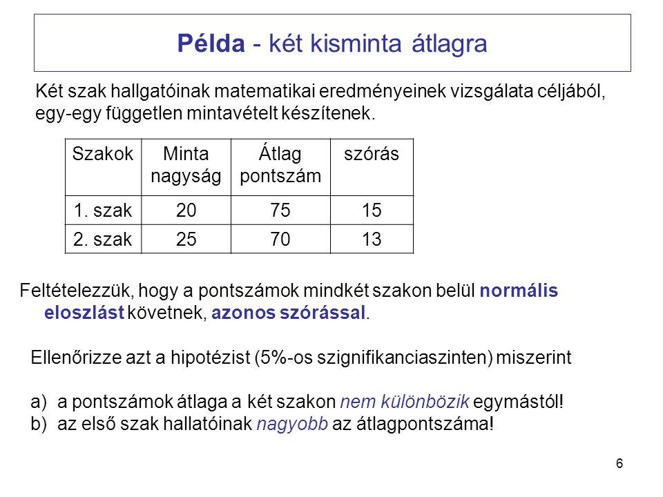 6 Példa - két kisminta átlagra Két szak hallgatóinak matematikai eredményeinek vizsgálata céljából, egy-egy független mintavételt készítenek. SzakokMi