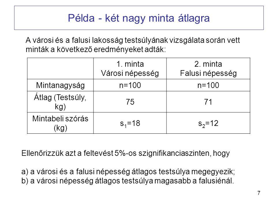 7 Példa - két nagy minta átlagra A városi és a falusi lakosság testsúlyának vizsgálata során vett minták a következő eredményeket adták: 1. minta Váro