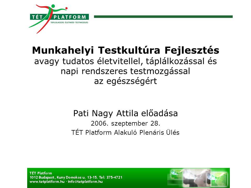 Munkahelyi Testkultúra Fejlesztés avagy tudatos életvitellel, táplálkozással és napi rendszeres testmozgással az egészségért Pati Nagy Attila előadása 2006.