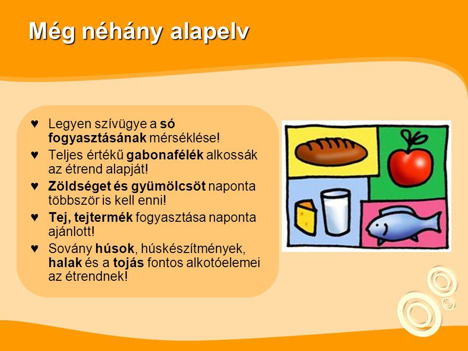 Még néhány alapelv ♥Legyen szívügye a só fogyasztásának mérséklése.