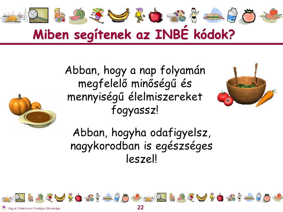 22 Magyar Dietetikusok Országos Szövetsége Miben segítenek az INBÉ kódok? Abban, hogy a nap folyamán megfelelő minőségű és mennyiségű élelmiszereket f