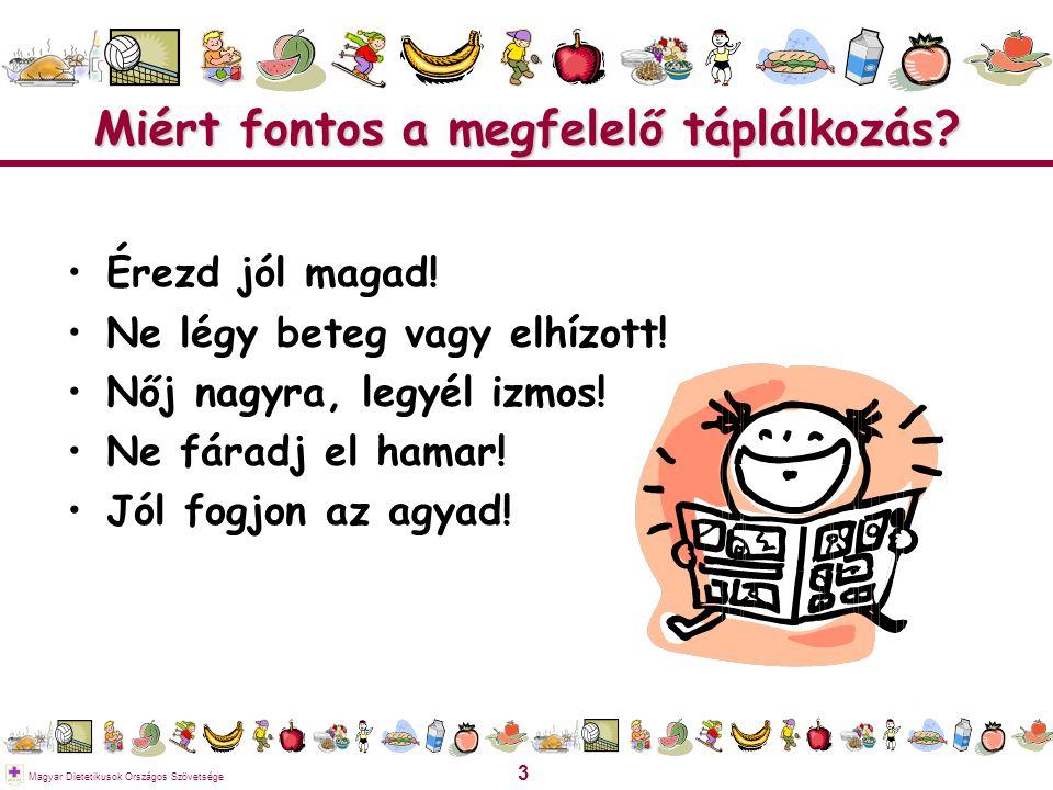 3 Magyar Dietetikusok Országos Szövetsége Miért fontos a megfelelő táplálkozás? Érezd jól magad! Ne légy beteg vagy elhízott! Nőj nagyra, legyél izmos