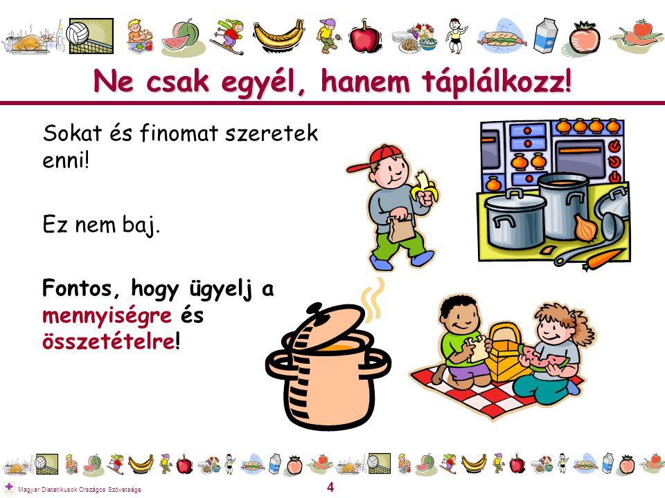 5 Magyar Dietetikusok Országos Szövetsége Az ételek-italok legfontosabb összetevői Víz Energia (Zsírok, szénhidrátok)  Építőanyagok (Fehérjék, ásványi anyagok)  Szabályozó anyagok (Vitaminok, ásványi anyagok) 