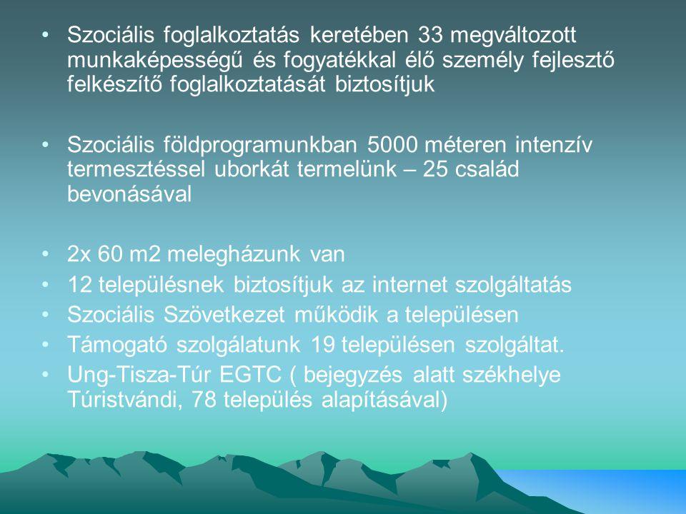 Szociális foglalkoztatás keretében 33 megváltozott munkaképességű és fogyatékkal élő személy fejlesztő felkészítő foglalkoztatását biztosítjuk Szociális földprogramunkban 5000 méteren intenzív termesztéssel uborkát termelünk – 25 család bevonásával 2x 60 m2 melegházunk van 12 településnek biztosítjuk az internet szolgáltatás Szociális Szövetkezet működik a településen Támogató szolgálatunk 19 településen szolgáltat.