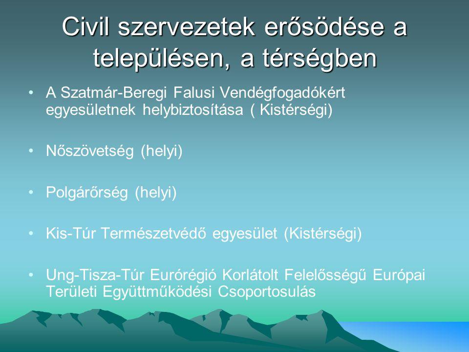 Civil szervezetek erősödése a településen, a térségben A Szatmár-Beregi Falusi Vendégfogadókért egyesületnek helybiztosítása ( Kistérségi) Nőszövetség