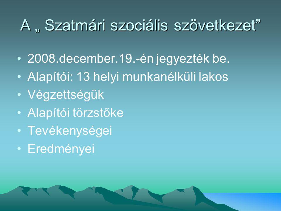 """A """" Szatmári szociális szövetkezet"""" 2008.december.19.-én jegyezték be. Alapítói: 13 helyi munkanélküli lakos Végzettségük Alapítói törzstőke Tevékenys"""