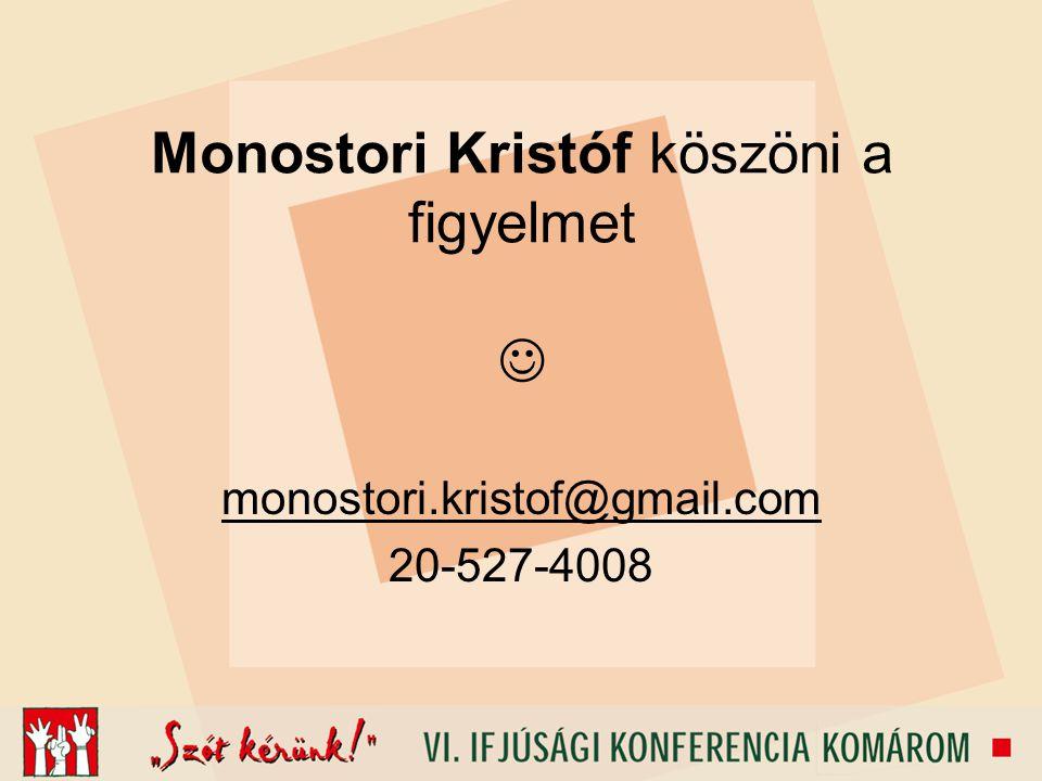 Monostori Kristóf köszöni a figyelmet monostori.kristof@gmail.com 20-527-4008