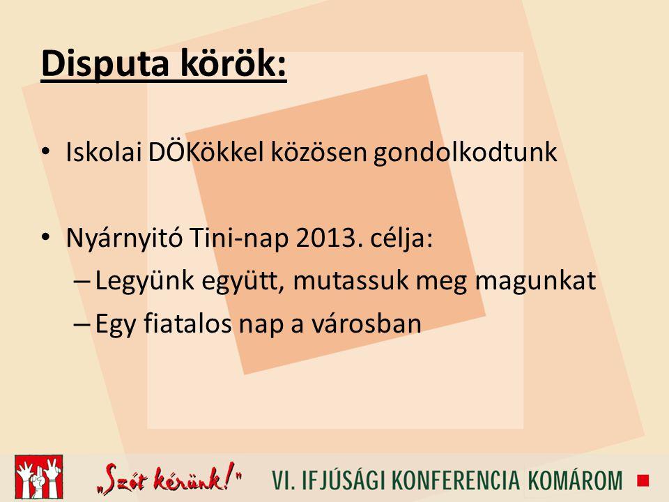 Disputa körök: Iskolai DÖKökkel közösen gondolkodtunk Nyárnyitó Tini-nap 2013.