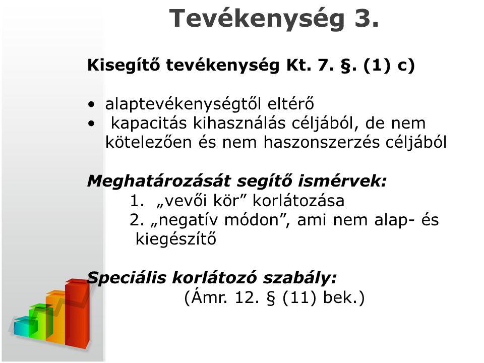t Tevékenység 3. Kisegítő tevékenység Kt. 7. §. (1) c) alaptevékenységtől eltérő kapacitás kihasználás céljából, de nem kötelezően és nem haszonszerzé