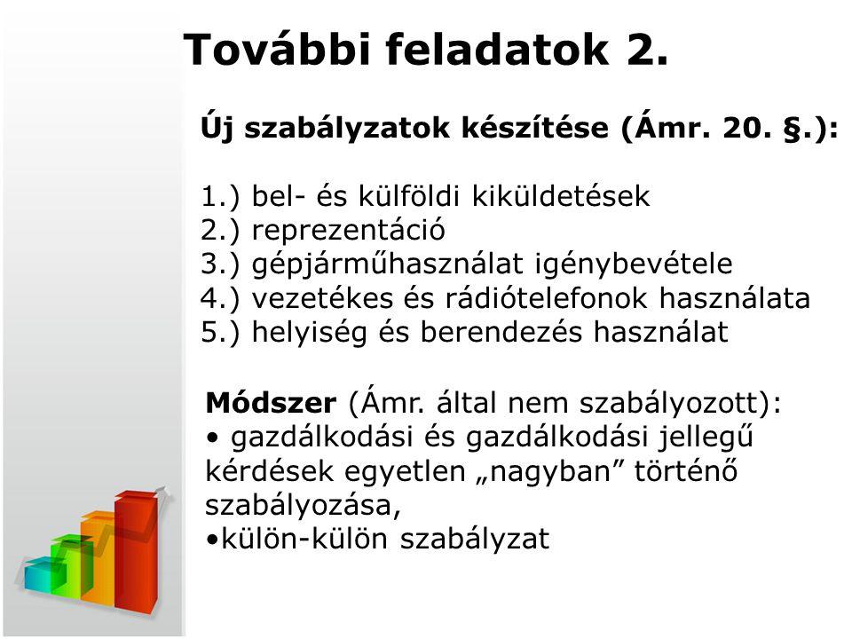 További feladatok 2. Új szabályzatok készítése (Ámr. 20. §.): 1.) bel- és külföldi kiküldetések 2.) reprezentáció 3.) gépjárműhasználat igénybevétele