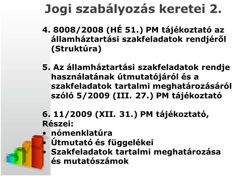Jogi szabályozás keretei 2. 4. 8008/2008 (HÉ 51.) PM tájékoztató az államháztartási szakfeladatok rendjéről (Struktúra) 5. Az államháztartási szakfela