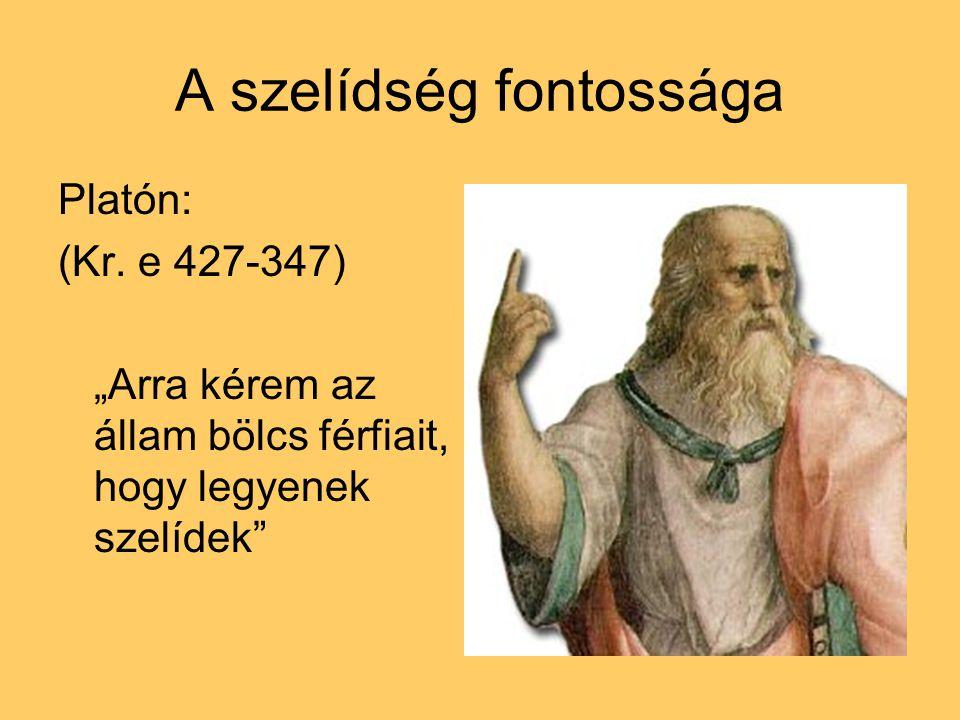 """A szelídség fontossága Platón: (Kr. e 427-347) """"Arra kérem az állam bölcs férfiait, hogy legyenek szelídek"""""""