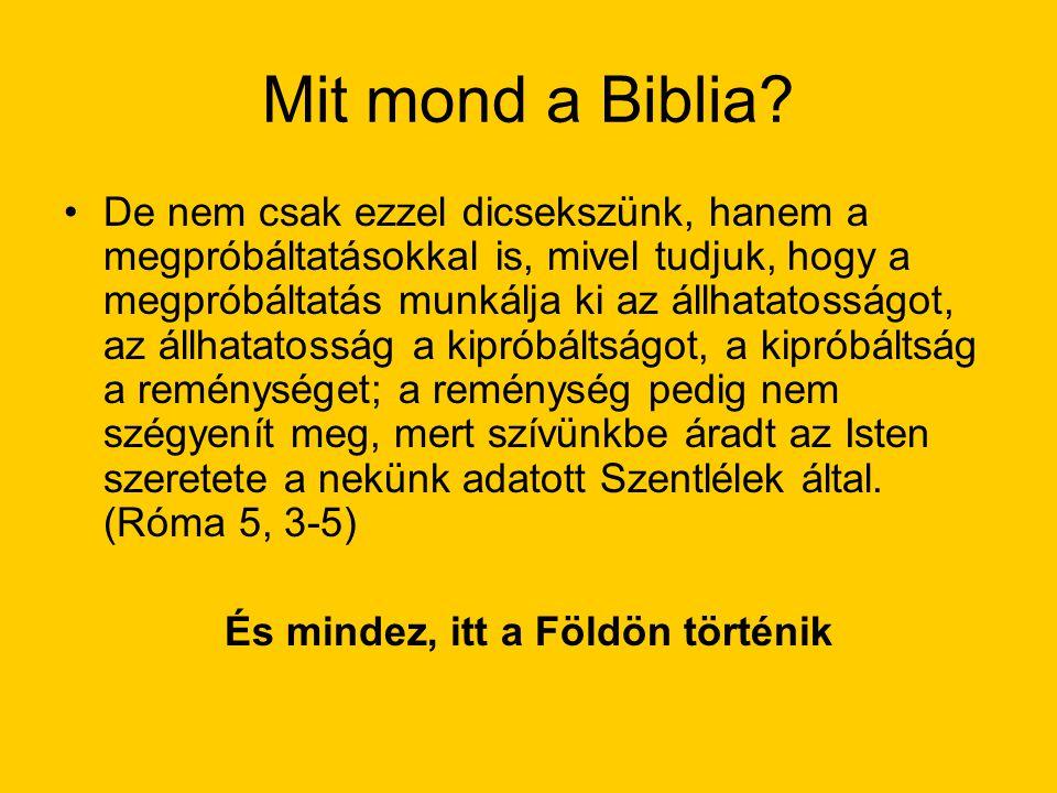 Mit mond a Biblia? De nem csak ezzel dicsekszünk, hanem a megpróbáltatásokkal is, mivel tudjuk, hogy a megpróbáltatás munkálja ki az állhatatosságot,