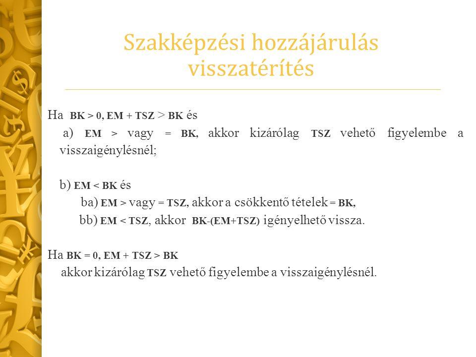Szakképzési hozzájárulás visszatérítés Ha BK > 0, EM + TSZ > BK és a) EM > vagy = BK, akkor kizárólag TSZ vehető figyelembe a visszaigénylésnél; b) EM