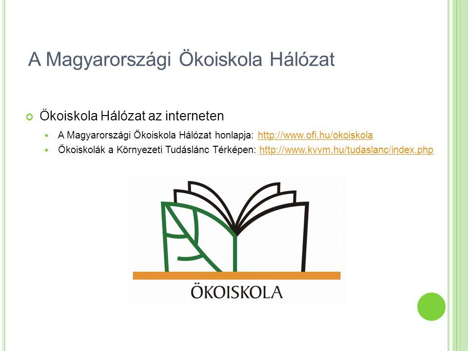 A Magyarországi Ökoiskola Hálózat Ökoiskola Hálózat az interneten A Magyarországi Ökoiskola Hálózat honlapja: http://www.ofi.hu/okoiskola http://www.o