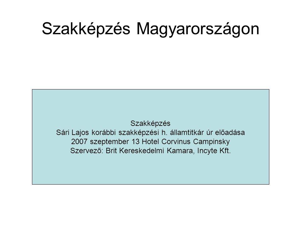 Szakképzés Magyarországon Iskolarendszerű szakképzésFelnőttképzés Szakképzés Sári Lajos korábbi szakképzési h. államtitkár úr előadása 2007 szeptember