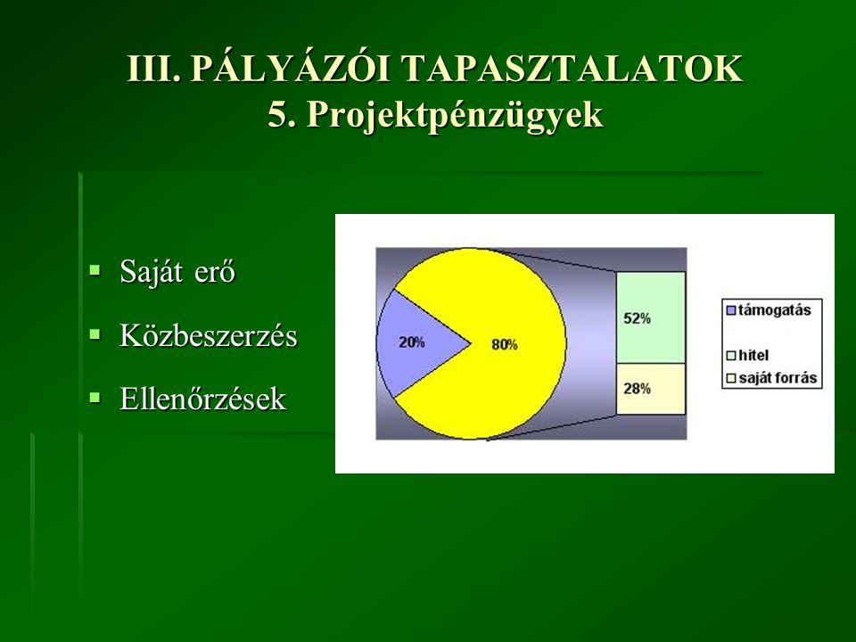 III. PÁLYÁZÓI TAPASZTALATOK 5. Projektpénzügyek  Saját erő  Közbeszerzés  Ellenőrzések
